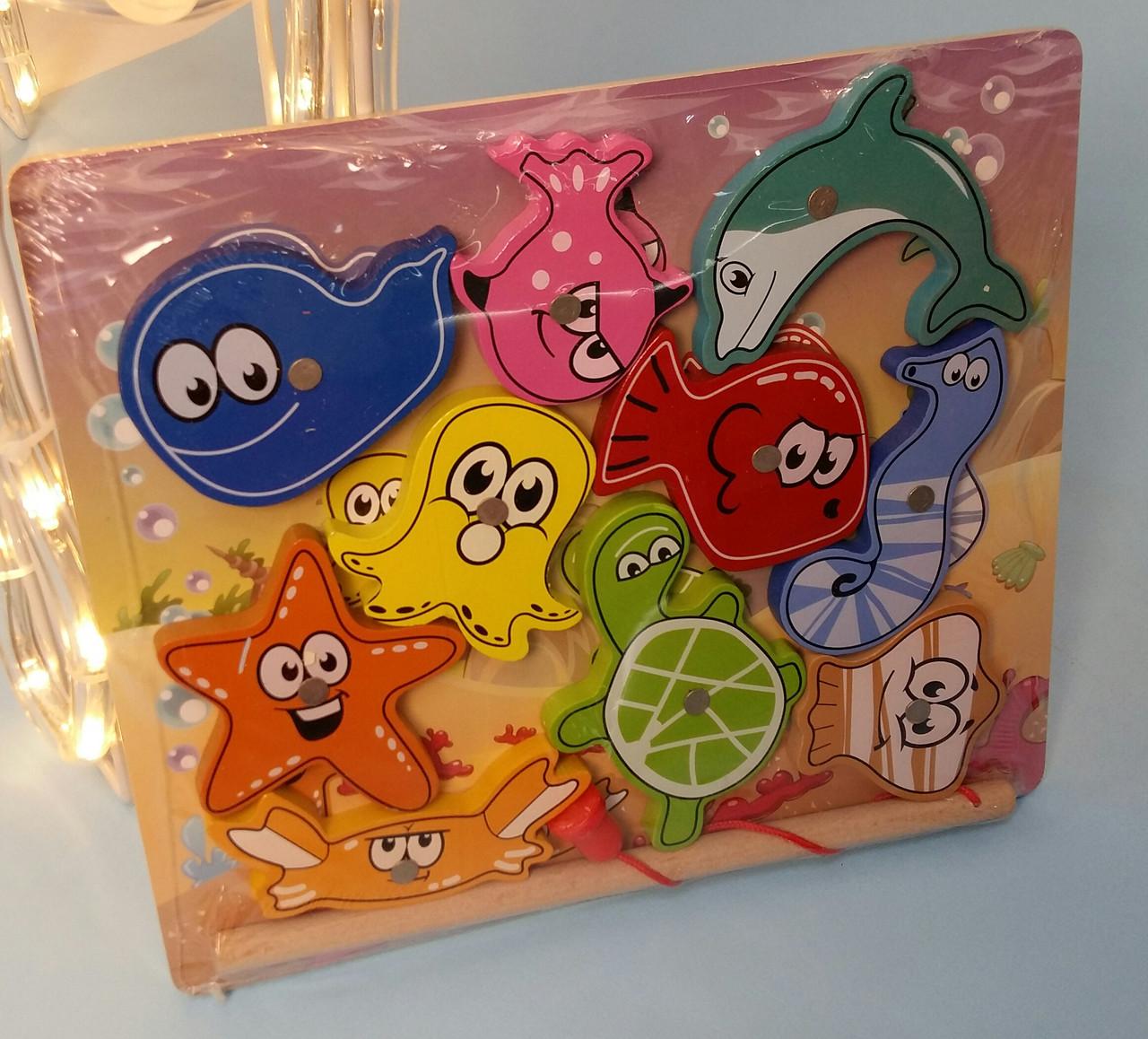 Деревянная игрушка Магнитная Рыбалка, морские животные 10шт, удочка, в коробке MD 2509
