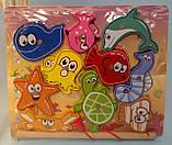 Деревянная игрушка Магнитная Рыбалка, морские животные 10шт, удочка, в коробке MD 2509, фото 2