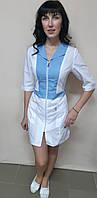 Женский медицинский халат Опера коттон на молнии три четверти рукав, фото 1