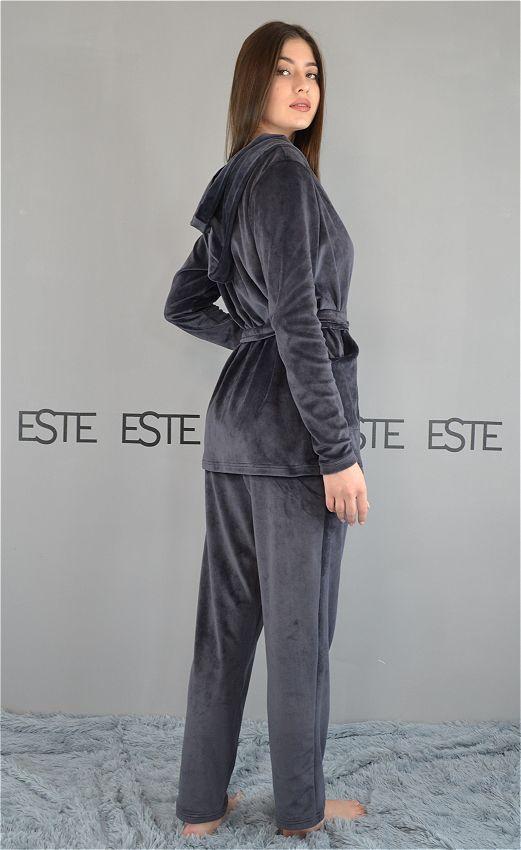 Теплая пижама женская с капюшоном и карманами Este 407 темно-серый.
