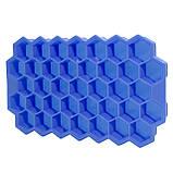 Силиконовая форма для льда CUMENSS Соты Blue емкость для замораживания воды, фото 3
