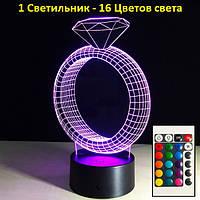 1 Светильник -16 цветов света! Настольные лампы и ночники, Кольцо, с пультом управления, 3D Led Светильники