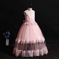 Нарядное длинное платье с прозрачной вставкой для девочки пудрово-розовое