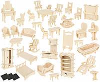 Набор мебели под раскраску DIY для кукольного дома 34 шт