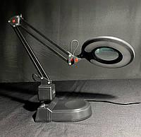 Настольная светодиодная лампа - лупа  8 ватт черная, фото 1