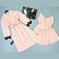 Комплект женской домашней одежды Este халат и пижама ( майка шорты) розовый