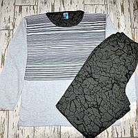 Размер 3XL (54-56). Хлопковая пижама двойка, кофта и штаны, зимняя мужская пижама