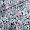 Ткань с котятами серыми и розовыми, ш.160 см
