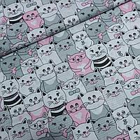 Ткань с котятами серыми и розовыми, ш.160 см, фото 1