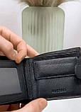 Мужской кожаный кошелек черный, фото 4