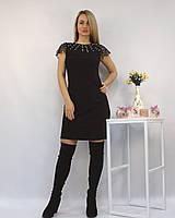 Коктейльное нарядное платье-футляр черное с жемчугом и камнями Сваровски ЛЮКС-качество вечернее новогоднее