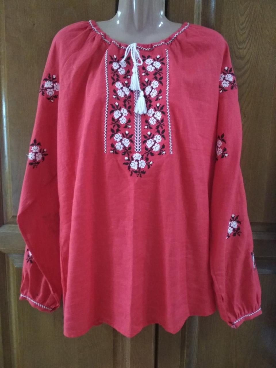 Червона жіноча вишиванка, льон , довгий рукав 56 розмір