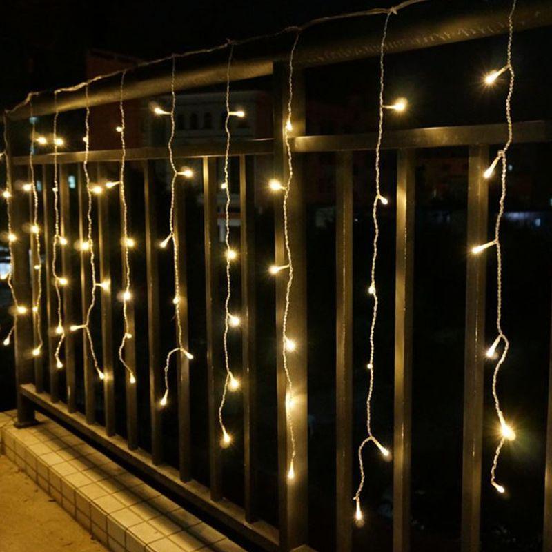 Гирлянда Бахрома на окно 4x0,6 метра 96 LED, 19 нитей, 220В, IP44, Цвет Золото, СС-1792-65