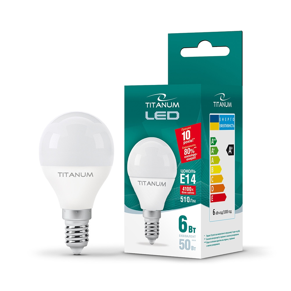 LED лампа TITANUM G45 6W E14 4100K 220V (ТL-G45-06144)