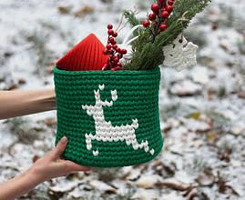 Рождественская корзина из трикотажной пряжи с узором Олень