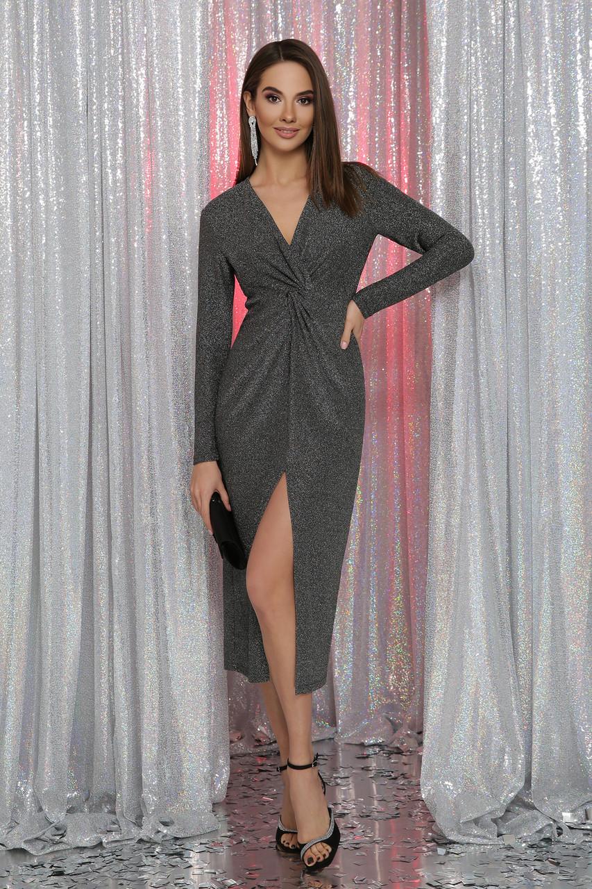 Вечерне платье с разрезом черный серебро Нева