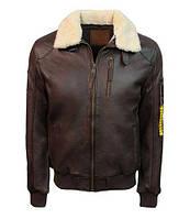Оригінальна шкіряна куртка Top Gun Men's Bomber With Removable Fur TG1911 (Brown)