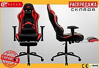 Компьютерное Игровое Кресло Геймерское с Подножкой для Геймера GT Racer X-2534-F Черное / Красное
