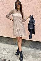 LUREX Нарядное платье-двойка с горохом на сетке - кофейный цвет, L