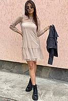 LUREX Нарядное платье-двойка с горохом на сетке - кофейный цвет, S