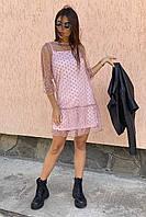 LUREX Нарядное платье-двойка с горохом на сетке - розовый цвет, S