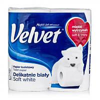 Туалетная бумага Velvet деликатная белая 3 слоя 4 рулона