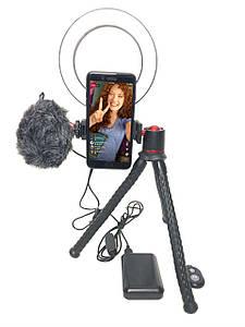 Набор блогера для iPhone с накамерным микрофоном, Led кольцом и кейсом