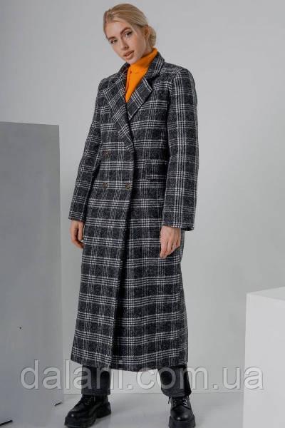Шерстяное женское темно-серое пальто миди в клетку
