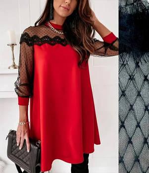 / Размер 42-44,46-48 / Женское вечернее платье-трапеция с кружевом Grace / цвет красный