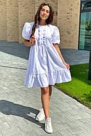 Crep Модное летнее платье с объемными рукавами-фонариками - белый цвет, M