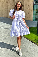 Crep Модное летнее платье с объемными рукавами-фонариками - белый цвет, L