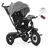 Дитячий триколісний велосипед-коляска з поворотним сидінням TurboTrike M 4060HA-19L льон сірий