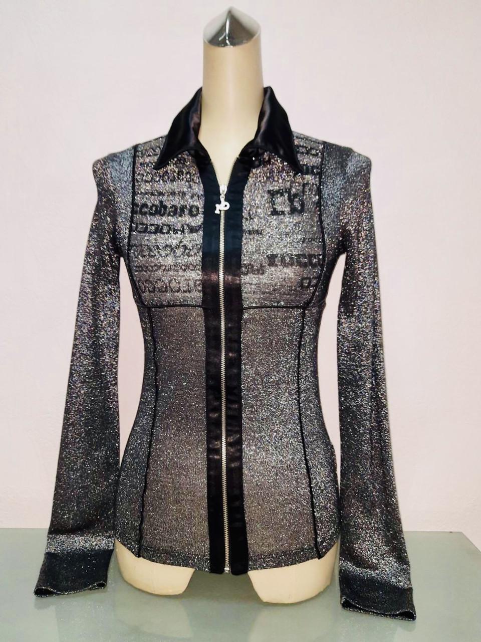 Блуза. рубашка, кофта Roccobarocco женская на молнии черный люрекс с длинным рукавом тонкая