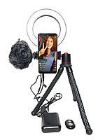 Набір блогера для телефону з накамерным мікрофоном, Led кільцем і кейсом