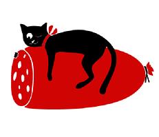 Виниловая наклейка на холодильник Кот и колбасень (пленка самоклеющаяся фотопечать) матовая Черный кот