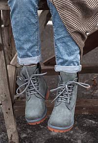 Зимние Женские ботинки Timberland Grey (мех)