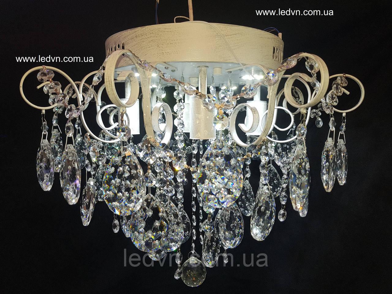 Классическая хрустальная со встроенной LED подсветкой 4+4 белая с потертостью серебро