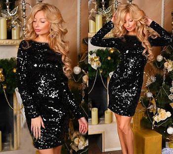 / Размер 42-44,46-48 / Женское облегающее платье с пайетками Kerry / цвет черный