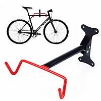 Крепление велосипеда за раму к стене складное, черно-красное HS-017