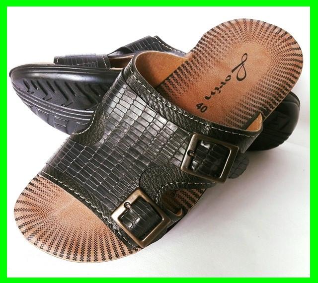 Мужские Шлёпанцы Тапочки LORIN Сланцы Чёрные Кожаные (размеры: 40)