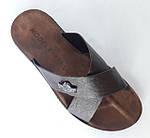 Мужские Шлёпанцы Тапочки Сланцы Кожаные Коричневые (размеры: 43), фото 4