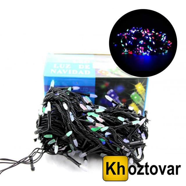 Новорічна гірлянда XMas LED 100 M-3 | Чорний дріт | 100 ламп