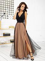 Женское шикарное длинное платье с шелковым верхом и пышной юбкой, фото 1