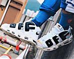 Кросівки N!ke Air More Uptempo OFF Білі Найк Шкіра розміри: 40,42,43,45) Відео Огляд, фото 3