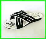 Мужские Шлёпанцы Тапочки ADIDAS Сланцы Черные Белые (размеры: 40,41,42,43,44,45), фото 2
