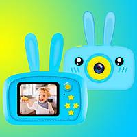 Противоударный детский цифровой фотоаппарат зайчик 20 Мп Smart Kids Camera 3Series Голубой Original *