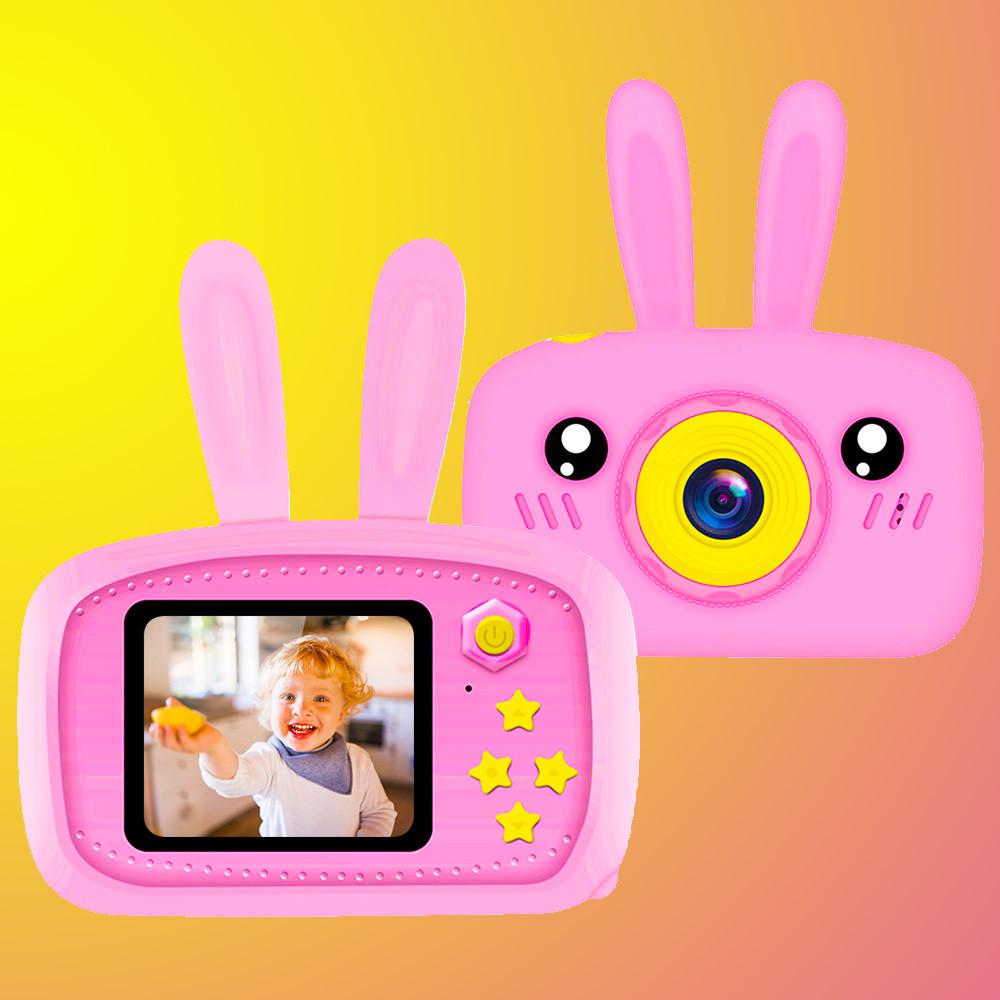 Противоударный детский цифровой фотоаппарат зайчик 20 Мп Smart Kids Camera 3 Series Розовый Original **
