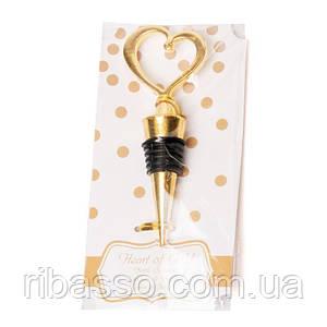 Пробка для вина BST 980005 Сердце 11*4 см золотистая