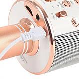 Беспроводной караоке микрофон со встроенной колонкой DM Karaoke WS858 Original Розовое золото USB/Bluetooth), фото 4