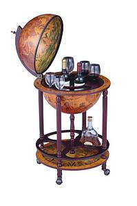 Глобус бар напольный на 4 ножках 420 мм. коричневый 480044